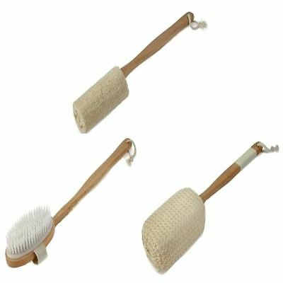 Bamboo Wooden Handled Back Scrubber Bath Brush,sponge,loofah Shower Exfoliating