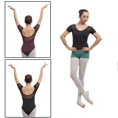 New adult lady girl ballet dance mesh cap-sleeved leotard  SZ:S - XXL