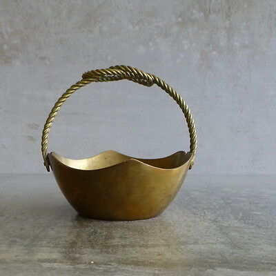 Vintage Brass Small Bowl with folding handle twisted knot handle tarnished