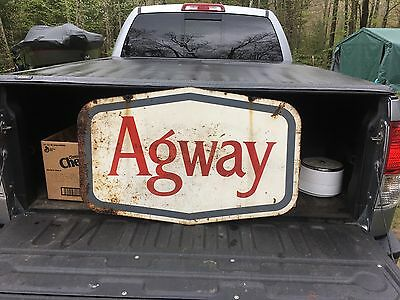 Rare Vintage Agway Double Sided Metal Sign Farm Feed AG Feeds Animal Advertising