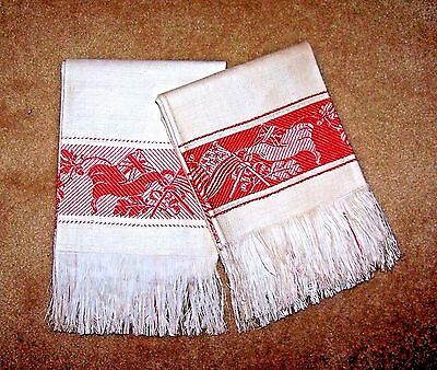 2 Antique Show Towels Off-White Damask Turkey Red USA & England Flags Deadstock
