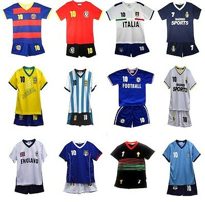 Kids Boys Football Summer Shorts Girls Top Vest Kit Set Size Age 2-14 Years Bnwt