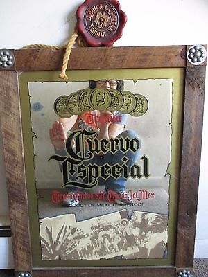 Jose Cuervo Vintage Bar Mirror With Medallion Wood and Glass Very cool