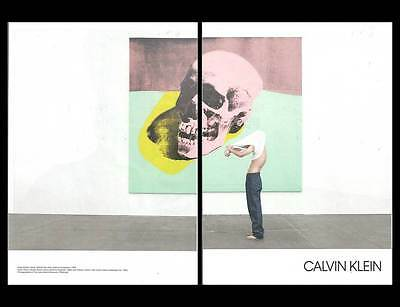2017, 2 pg PRINT AD Calvin Klein jeans Andy Warhol skull ADVERTISING PAGES