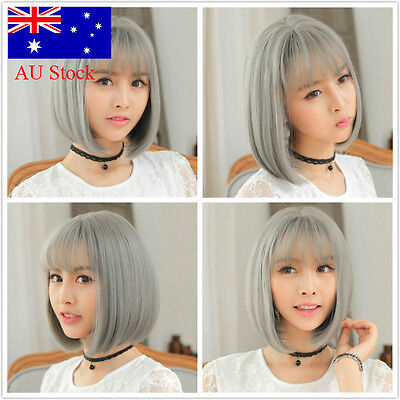 AU Stock! Ladies Short Straight Grey Fashion Bobo Soft Womens Wigs Cosplay hair