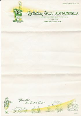Vintage Holiday Inn Astroworld Hotel Stationery - Free Shipping