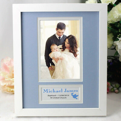 Personalised Baptism Photo Frame - Blue - Add a Name & Message