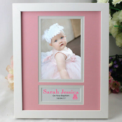Personalised Baptism Photo Frame - Pink - Add a Name & Message