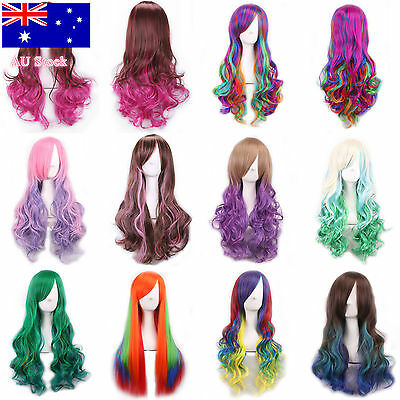 Women Lady Long Anime Full Hair Wigs Rainbow Curly Wavy Straight Deluxe Wig Hot