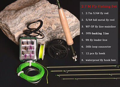 Carbon Fly Fishing combo Set 2.7 m 5 section fly rod line wt 5/6 Brand Hi.Whale