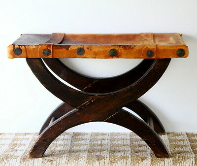 Antique Stool Bench Spanish Colonial Leather Wood Nailhead Detail 1920's