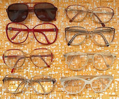 Job Lot 8 Pairs Vintage Retro Spectacles, Glasses 1980's? Theatre TV Props