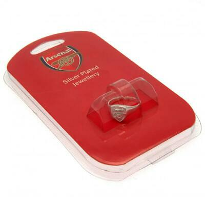 Arsenal Fc Silver Plated Crest Ring S,M,L Size In Gift Box Gunners New Xmas