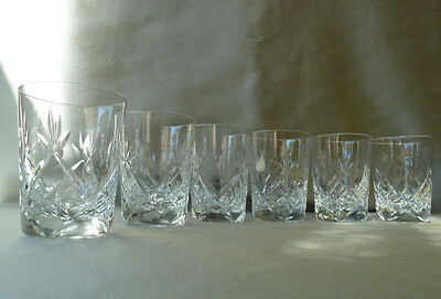 6  Royal Brierley 1/2 Size Whisky Glasses Tumblers in Elizabeth cut, signed