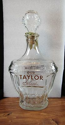 Vintage Old Taylor Kentucky Bourbon Whiskey Glass Decanter Bottle -Tax stamp