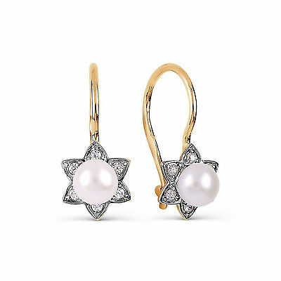 14ct 585 Russian Rose Gold Womens Kids French Hook Earrings With Pearl
