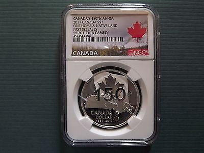 2017 Canada $1 1Oz Silver 150Th Anniversary Ngc Pf70 Uc First Release Pop 64