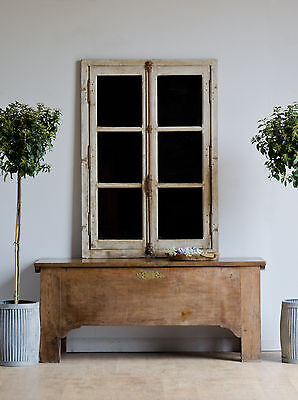 Pair of Antique French Architectural Industrial Mirrored Window Frames