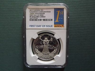2017 Canada $1 1Oz Silver 150Th Anniversary Ngc Pf69Uc First Day Of Issue Pop 13