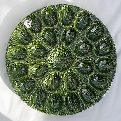Olfaire Majolica~Pottery From Portugal ~ Green Cabbage Devilled-Egg (24)  Plate