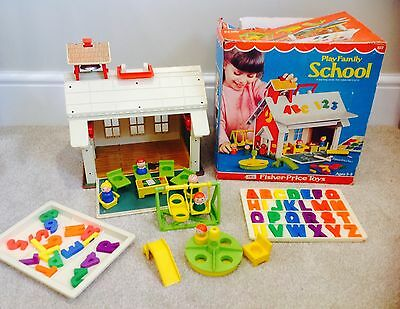 Vintage Fisher Price Play family School # 923 Boxed Attic Toy Play Set