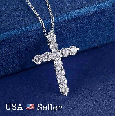 Women 925 Sterling Silver CZ Cubic Crystal Cross Pendant Necklace Diamante N3