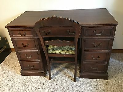 vintage solid wood desk and chair