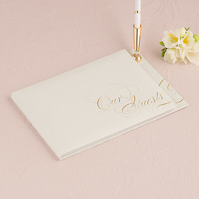 Pure Elegance Wedding Guest Book And Pen With Blank Pages Gold