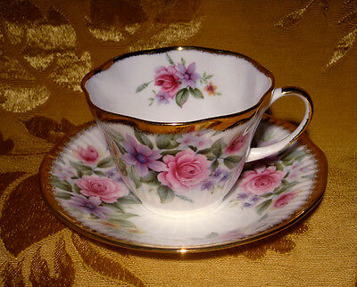 Queen's Rosina Cup & Saucer Floral Roses Heavy Gold Trim Made In England