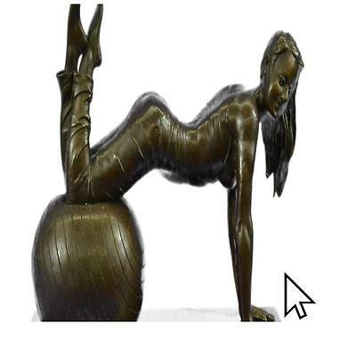 Signed Original Vitaleh Exotic Stripper Nude Bronze Art Deco Sculpture  A