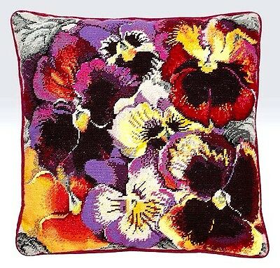 Ehrman Designer ELIAN MCCREADY Tapestry Needlepoint PANSY FLOWERS cushion kit