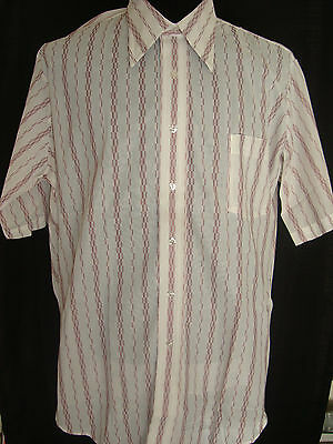 """VTG 70s Arrow Added Dimensions Sheer Button S/S Hipster Mens Shirt 18 1/2"""" NOS"""