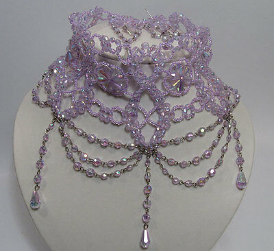 Ladies Lilac Beaded Wedding Burlesque Gothic Victorian Style Choker Necklace