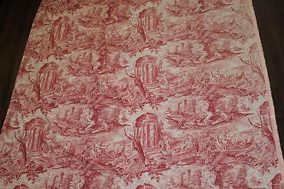 Large antique French fabric toile de jouy (d'Alsace) red print curtain (right)