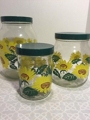 Sunflower-3 piece canister-Green top - Vintage