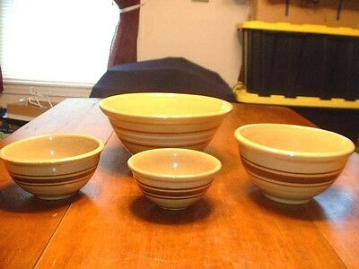 Set 4 Antique Graduated Yellow Ware Mixing Bowls With Bands