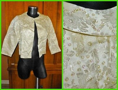 Vtg 60s Jackie Morgan Cream GOLD Metallic Brocade Evening Wedding Bolero JACKET