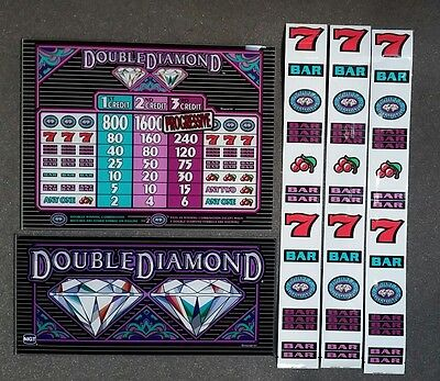 IGT S2000 DOUBLE DIAMOND 3 Coin Glass Kit with Top Belly BACKLIT Reel Strips