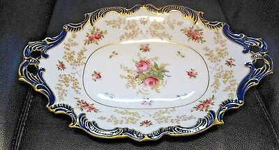 "COALPORT Very Rare 11x18"" serving dish gold rimmed blue floral well marked AD175"