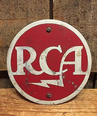 Vintage RCA Radio Corporation Of America Metal Plaque Advertising Sign