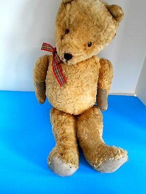 "Vintage English Teddy Bear, Wobbly, but Lovable Jointed 21"" Straw Filled"