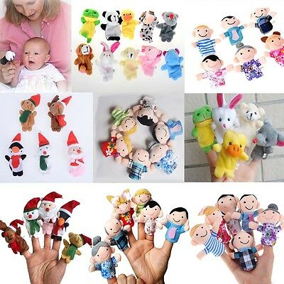 6/10 Family Finger Puppets Cloth Doll Baby Educational Hand Cartoon Animal Toy