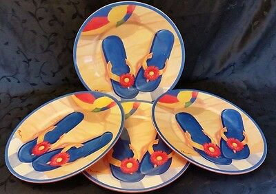 Melamine Sakura Evolution Blue Flip Flop Dinner Plate 4 Set Vintage Paul Brent