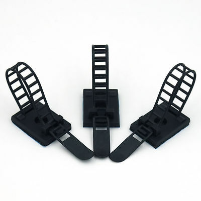 5Pcs Adjustable Adhesive Cable Straps Cord Management Tie Mount Clips Black 90mm