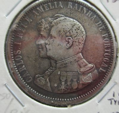 PORTUGAL 1898 1000 Reis India Discovery Silver Crown