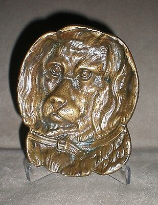 Vintage Bronze Dog Face Card Receiving Tray Metal English Springer Spaniel