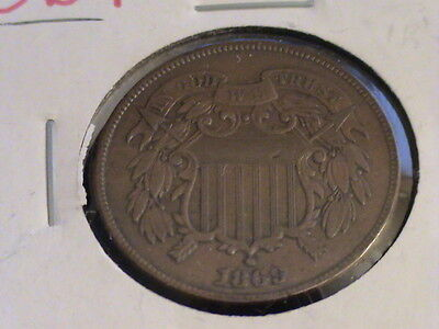 1869 Two cent piece, full motto showing    ZWA 350