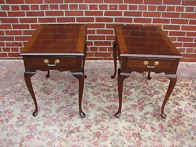 Pair Councill Craftsmen Mahogany End Tables With Banded Tops Can Ship Greyhound