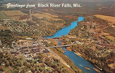 BLACK RIVER FALLS, WI  Wisconsin  AERIAL VIEW OF CITY Population 5,000  Postcard
