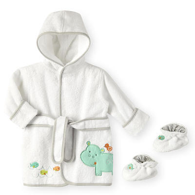 Koala Baby Bath Robe and Booties - Hippo Size 0 - 9 Months NWT